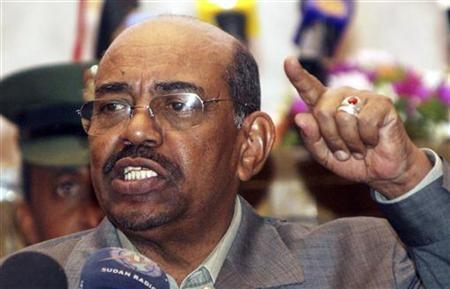 Sudanese President Omar Hassan al-Bashir addresses supporters at the Friendship Hall in the capital Khartoum February 9, 2010. REUTERS/Mohamed Nureldin Abdallah