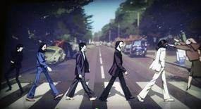 """<p>The Beatles are shown crossing Abbey Road in a scene from the new video game """"The Beatles: Rock Band"""" at the Microsoft XBox 360 E3 2009 media briefing in Los Angeles June 1, 2009. REUTERS/Fred Prouser</p>"""