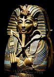 """<p>A detail view of the Coffinette for the Viscera of Tutankhamun is shown on display at the """"Tutankhamun and the Golden Age of Pharaohs"""" exhibition at the Los Angeles County Museum of Art during a media preview in Los Angeles June 15, 2005. REUTERS/Fred Prouser</p>"""