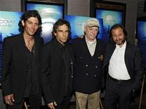 "<p>Videographer Lincoln O'Barry, producer Ben Stiller, actor Richard O'Barry and producer Fisher Stevens (L to R) attend an advance screening of ""The Cove"", a film about dolphins and a secret cove in Japan, in New York July 15, 2009. REUTERS/Ray Stubblebine</p>"