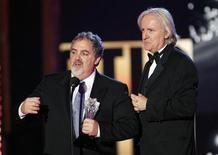 "<p>Producer Jon Landau (L) and director James Cameron accept the award for Best Action Movie for ""Avatar"" during the 15th Critics' Choice Movie Awards at the Hollywood Palladium in Los Angeles January 15, 2010. REUTERS/Mario Anzuoni</p>"