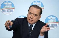 <p>Italy's Prime Minister and President of the Popolo della Liberta (People of Freedom) party Silvio Berlusconi speaks during a news conference at the party headquarters in downtown Rome March 10, 2010. REUTERS/Alessia Pierdomenico</p>
