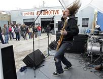 <p>J Roddy Walston and The Business of Baltimore, Maryland perform at the 40 Watt Club day party in the Empire Automotive Service lot during the South by Southwest 2010 Music Conference in Austin, Texas March 20, 2010. Nearly 2,000 artists from over 40 countries played in the music portion of South by Southwest, also dubbed as SXSW, that ran through March 21, 2010, up about 100 from last year. REUTERS/Erich Schlegel</p>