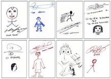 <p>Felt pen sketches by soccer players of England's Premier League are seen in photos released April 9, 2010. The drawings, by footballers such as Wayne Rooney (top L) and Ryan Giggs (bottom R), are among those by 40 players and managers to be included in a Premier League leather-bound book called The Art of Football. REUTERS/Premier League/Handout</p>