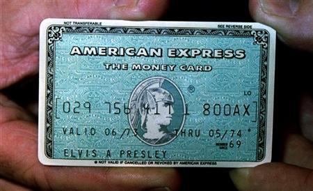 Elvis Presley's personal American Express card is displayed during a press preview May 3 in Los Angeles
