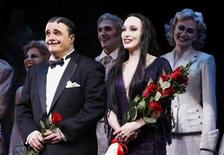 "<p>Actors Nathan Lane (L) and Bebe Neuwirth smile as they are applauded following the opening night of the Broadway play ""The Addams Family"" in New York April 8, 2010. REUTERS/Lucas Jackson</p>"