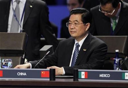 China's President Hu Jintao is pictured during the first plenary session of the Nuclear Security Summit in Washington April 13, 2010. REUTERS/Jason Reed