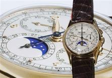 <p>A Patek Philippe ref. 1527 watch with perpetual calendar and chronograph is pictured during an auction preview at Christie's in Geneva May 7, 2010. REUTERS/Denis Balibouse</p>