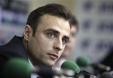 <p>Капитан сборной Болгарии Димитар Бербатов на пресс-конференции в Софии 13 мая 2010 года. Капитан сборной Болгарии Димитар Бербатов решил уйти из национальной команды, не пробившейся в финальную часть чемпионата мира 2010 года. REUTERS/Oleg Popov</p>