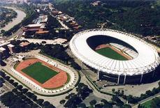 <p>Воздушная съемка Олимпийского стадиона в Риме. Рим был выбран претендентом от Италии на проведение летних Олимпийских игр 2020 года, опередив заявку Венеции, сообщил Итальянский олимпийский комитет (CONI) в среду.</p>
