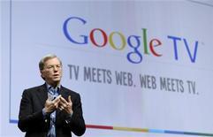 <p>L'AD di Google Eric Schmidt presenta Google TV a San Francisco. REUTERS/Robert Galbraith (UNITED STATES - Tags: MEDIA PROFILE SCI TECH)</p>