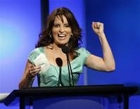 """<p>Actress Tina Fey accepts the """"Individual Achievement in Comedy"""" for her work on """"30 Rock"""" during the 24th Annual Television Critics Association Awards in Beverly Hills July 19, 2008. REUTERS/Gus Ruelas</p>"""