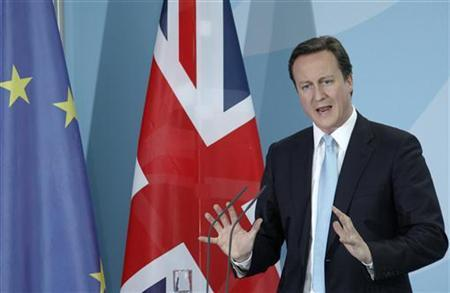 Prime Minister David Cameron speaks during a news conference after talks with German Chancellor Angela Merkel at the Chancellery in Berlin May 21, 2010. REUTERS/Thomas Peter