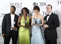 """<p>Denzel Washington (L), winner of the award for Best Performance by a Leading Actor in a Play for his work in """"Fences,"""", Viola Davis, winner of the Best Performance by a Leading Actress in a Play award for her work, also in """"Fences,"""" Catherine Zeta-Jones (2nd R), winner for Best Performance by a Leading Actress in a Musical for """"A Little Night Music"""" and Douglas Hodge, winner for Best Performance by a Leading Actor in a Musical, pose at the American Theatre Wing's 64th annual Tony Awards ceremony in New York June 13, 2010. REUTERS/Lucas Jackson</p>"""