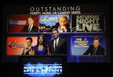 <p>Actress Sofia Vergara (L) and actor Joel McHale (R) announce the nominations for outstanding variety, music or comedy series for the 62nd Emmy Awards at the Academy of Television Arts and Sciences in Los Angeles July 8, 2010. The awards will be presented on August 29. REUTERS/Phil McCarten</p>