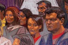 <p>Российские шпионы, нарисованные во время судебного процесса, проходящего в Нью-Йорке, 8 июля 2010 года. Десять человек, арестованных в США по подозрению в шпионаже в пользу России, в четверг признали себя виновными и будут депортированы на родину в рамках американско- российского обмена шпионами. REUTERS/Christine Cornell</p>