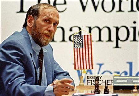 Former world chess champion Bobby Fischer gestures during his match against his archrival Boris Spassky of the Soviet Union, in the Yugoslav resort of Sveti Stefan in this September 1992 file photo. REUTERS/Ivan Milutinovic