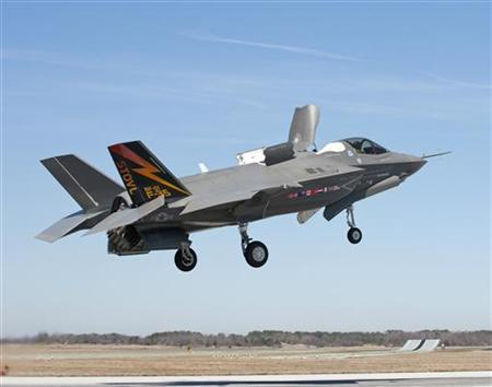 The first Lockheed Martin F-35B Lightning II short takeoff, vertical landing (STOVL) stealth fighter, piloted by Graham Tomlinson, demonstrates the capability to hover during a test flight at Naval Air Station Patuxent River, Maryland, March 17, 2010. REUTERS/Andy Wolfe/Lockheed Martin/Handout