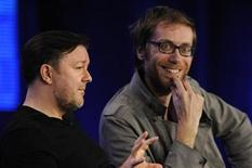 """<p>Executive producers Ricky Gervais (L) and Stephen Merchant (R) participate in a panel for HBO's """"The Ricky Gervais Show"""" during the HBO sessions of the Television Critics Association winter press tour in Pasadena, California January 14, 2010. REUTERS/Phil McCarten</p>"""