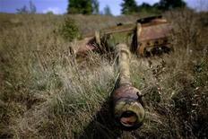 <p>Орудие времен нацистской Германии, бывшее в арсенале у болгарской армии, найдено в поселке под Софией, 12 августа 2007 года. Сын умершего немецкого пенсионера обнаружил в доме своего отца десятки видов оружия времен Первой и Второй мировых войн и сообщил о находке в полицию. REUTERS/Stoyan Nenov</p>