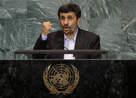 Iran's President Mahmoud Ahmadinejad addresses the 65th United Nations General Assembly at U.N. headquarters in New York, September 23, 2010. REUTERS/Mike Segar
