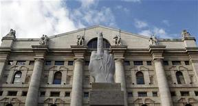 """<p>A sculpture called """"crippled hand"""" from Italian sculptor Maurizio Cattelan is placed in front of stock exchange palace in Milan September 25, 2010. REUTERS/Stefano Rellandini</p>"""