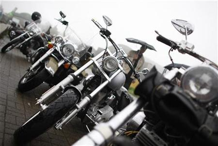 Harley Davidson motorbikes are pictured during the Friendship Ride Germany 2010, a Harley-Davidson motorcycle meeting in Gersfeld near Fulda, August 15, 2010. REUTERS/Alex Domanski