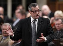 <p>Industry Minister Tony Clement speaks during Question Period in the House of Commons on Parliament Hill in Ottawa October 21, 2010. REUTERS/Chris Wattie</p>