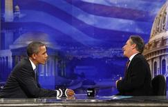 <p>U.S. President Barack Obama speaks with Jon Stewart during a break in the taping of an interview for the Daily Show in Washington, October 27, 2010. REUTERS/Jim Young</p>