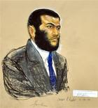 <p>A courtroom sketch shows defendant Omar Khadr, a native of Toronto, Canada, listening to testimony during his sentencing hearing at the Guantanamo Bay Naval Base in Cuba, October 26, 2010. REUTERS/Janet Hamlin/Pool</p>