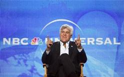 """<p>Host Jay Leno gestures during a panel for his upcoming television series """"The Jay Leno Show"""" at the Television Critics Association Cable summer press tour in Pasadena, California August 5, 2009. The series debuts on September 14. REUTERS/Mario Anzuoni</p>"""