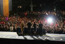 <p>Supporters of Republican presidential nominee Senator John McCain (2nd L) listen to his concession speech in Phoenix November 4, 2008. Cindy McCain is at left, Todd Palin at right, and vice-presidential running mate Gov. Sarah Palin stands next to McCain. REUTERS/Jessica Rinaldi</p>