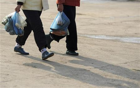 People carrying groceries walk along a street in Hefei, Anhui province November 18, 2010. REUTERS/Stringer (CHINA - Tags: BUSINESS)