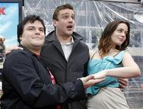 """<p>Cast members Jack Black (L), Jason Segel (C) and Emily Blunt pose at the premiere of """"Gulliver's Travels"""" at the Grauman's Chinese theatre in Hollywood, California December 18, 2010. REUTERS/Mario Anzuoni</p>"""