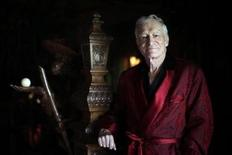 <p>Playboy magazine founder Hugh Hefner poses for a portrait at his Playboy mansion in Los Angeles, California in this July 27, 2010 file photo. REUTERS/Lucy Nicholson</p>