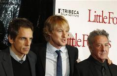 "<p>Cast members (L-R) Ben Stiller, Owen Wilson, and Dustin Hoffman arrive at the premiere of the movie ""Little Fockers"" in New York December 15, 2010. REUTERS/Lucas Jackson</p>"