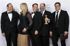 <p>(L-R) Executive producer Kevin Spacey, producers Cean Chaffin, Dana Brunetti, Scott Rudin, and Michael De Luca pose with their award for Best Motion Picture - Drama 'The Social Network', at the 68th annual Golden Globe Awards in Beverly Hills, California, January 16, 2011. REUTERS/Lucy Nicholson</p>