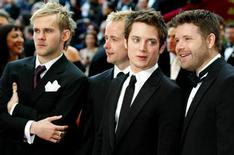 """<p>Actors (L-R), Billy Boyd, Dominic Monaghan, Elijah Wood and Sean Astin from the film trilogy """"Lord of the Rings"""" arrive for the 76th annual Academy Awards at the Kodak Theatre in Hollywood, February 29, 2004. REUTERS/Mike Blake</p>"""