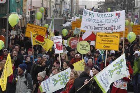 Demonstration gegen die Agrarpolitik der Regierung am 22. Januar 2011 in Berlin. REUTERS/Tobias Schwarz