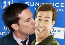 "<p>Cast member Ed Helms kisses a cardboard cutout of his character from the film ""Cedar Rapids"" during the movie's premiere at the Sundance Film Festival in Park City, Utah January 23, 2011. REUTERS/Lucas Jackson</p>"