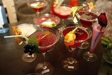 """<p>A range of Cypriot cocktails with names such as """"Wet Noon"""", """"Fire and Forget"""" and """"Rose Ecstasy"""" are seen on display at the island's first pan-Cyprian Original Cyprus Cocktail Competition in Nicosia, January 22, 2011. REUTERS/Andreas Manolis</p>"""