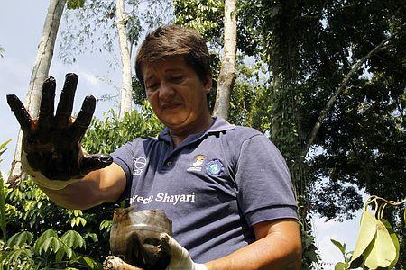 テキサコが汚染したとされる土壌に触れた手を見せる人(2011年1月25日、エクアドル・ラゴアグリオ)