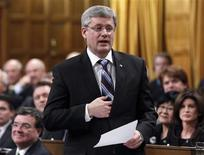 <p>Canada's Prime Minister Stephen Harper speaks during Question Period in the House of Commons on Parliament Hill, February 16, 2011. REUTERS/Chris Wattie</p>
