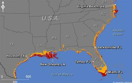A map showing where increases in sea level could affect the southern and Gulf coasts of the U.S. The colors indicate areas along the coast that are elevations of 1 meter or less (russet) or 6 meters or less (yellow) and have connectivity to the sea. REUTERS/Jeremy Weiss/University of Arizona