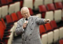<p>Canadian television sports personality Don Cherry tapes a segment for the Stanley Cup finals at Joe Louis arena in Detroit May 25, 2008. REUTERS/Shaun Best</p>
