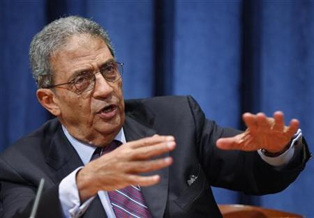 Arab League Secretary-General Amr Moussa gestures as he speaks during a news conference at United Nations headquarters in New York September 24, 2010. REUTERS/Chip East