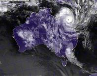 <p>A satellite image obtained from the U.S. Naval Research Laboratory shows Cyclone Yasi making landfall in Queensland, Australia, late February 2, 2011. REUTERS/U.S. Naval Research Laboratory/Marine Meteorological Division/Handout</p>