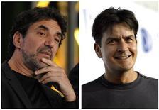 """<p>Imagen combinada del productor Chuck Lorre (izquierda en la imagen) y Charlie Sheen, la estrella de la popular serie de televisión """"Two and a Half Men"""". Charlie Sheen, la estrella de la popular serie de televisión """"Two and a Half Men"""", demandó el jueves en 100 millones de dólares al estudio Warner Bros por haberlo despedido, según un representante de los defensores legales del actor. REUTERS/Files</p>"""