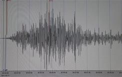 <p>График с магнитудой землетрясения в Японии в Геонаучном исследовательском институте в Потсдаме 11 марта 2011 года. Мощнейшее за последние 140 лет землетрясение произошло на северо-востоке Японии в пятницу, вызвав 10-метровое цунами, сметавшее на своем пути дома, суда, автомобили и горящие фермерские постройки. REUTERS/Fabrizio Bensch</p>