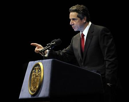 New York Governor Andrew Cuomo presents his 2011-12 budget proposal in Albany, New York February 1, 2011. REUTERS/Hans Pennink
